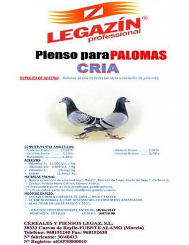 PIENSO LEGAZÍN PALOMAS CRÍA - 20 KG - Tamaño: 20 Kg