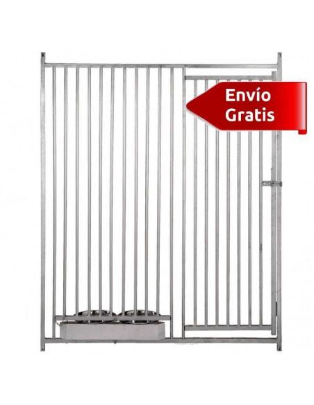 FRENTE DE BOXES PARA PERROS BARRAS COPELE - FRENTE: 150 CM - TIPO: BARRAS 5 CM - MODELO: CON COMEDEROS