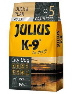 JULIUS K-9 CITY DOG ADULTO PATO Y PERA - TAMAÑO: 340 GR
