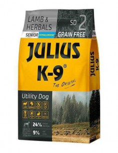 JULIUS K-9 UTILITY DOG SENIOR/LIGHT CORDERO Y HIERBAS - TAMAÑO: 340 GR