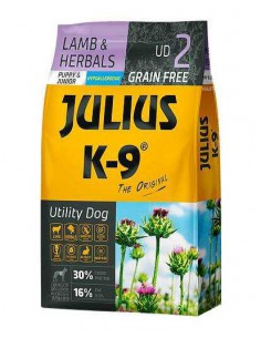 JULIUS K-9 UTILITY DOG PUPPY AND JUNIOR CORDERO Y HIERBAS - TAMAÑO: 340 GR
