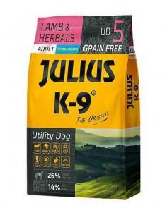 JULIUS K-9 UTILITY DOG ADULTO CORDERO Y HIERBAS - TAMAÑO: 340 GR