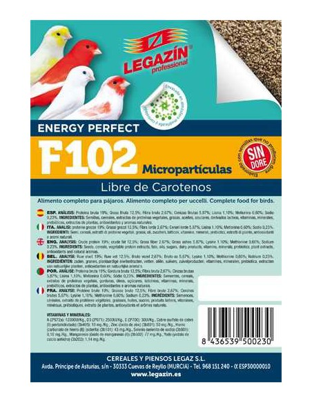 PIENSO LEGAZÍN F102 MICROPARTÍCULAS
