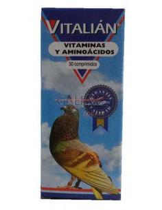 VITAMINAS Y AMINOÁCIDOS PARA PALOMAS VITALIAN - TAMAÑO: 30 COMPRIMIDOS